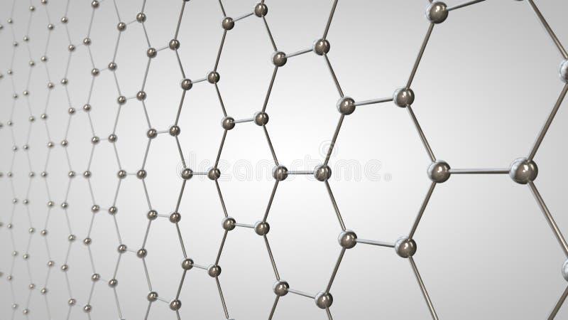 3D ilustração da grade do graphene, moléculas do carbono da cor metálica A ideia da nanotecnologia, do supercondutor e da bateria ilustração do vetor