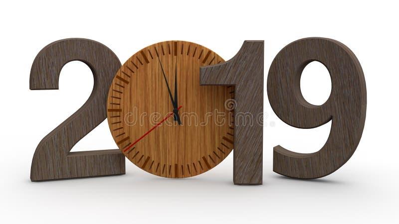 3D ilustração de 2019, data com o pulso de disparo mecânico de madeira Ideia para o calendário, os feriados do ano novo, a celebr ilustração stock