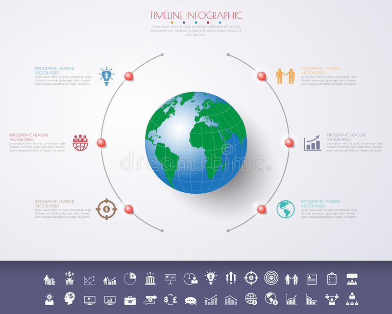 3D ilustração digital abstrata Infographic com mapa do mundo ilustração royalty free