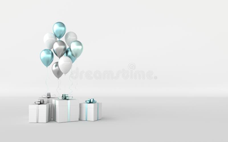3d ilustração dos balões verdes, brancos e prateados, realistas e com arco-íris em fundo branco ilustração stock