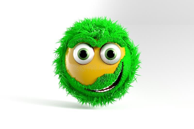 3D ilustração, Emoticon amarelo com cabelo verde imagem de stock royalty free