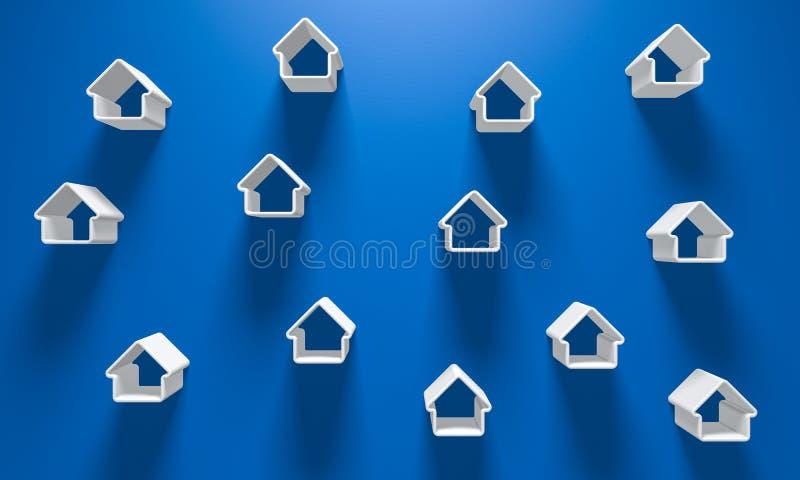 3D ilustração - fundo azul com alguns silhoue branco da casa ilustração stock