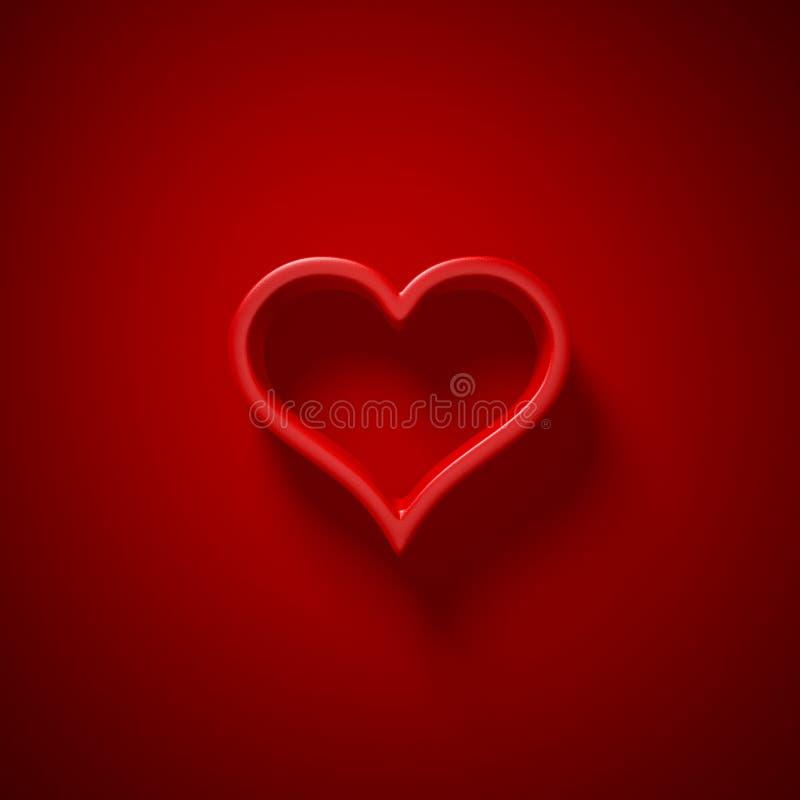 3D ilustração - fundo vermelho com a silhueta do coração com ligh ilustração royalty free