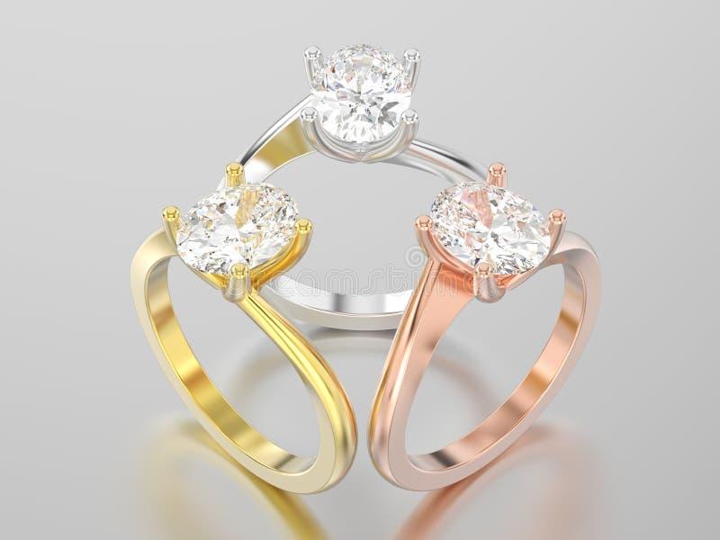 3D a ilustração três amarela, ouro cor-de-rosa e branco ou prata ilustração royalty free