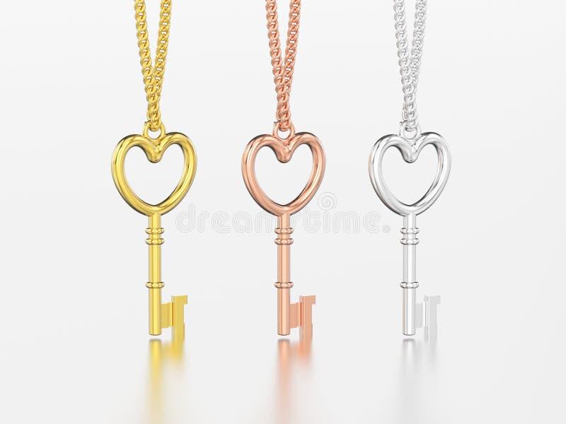 3D a ilustração três chave decorativa amarela, do ouro cor-de-rosa e branca ilustração royalty free
