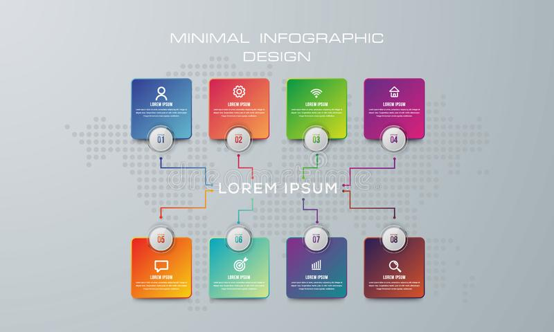 3D ilustra??o digital abstrata Infographic usado para a disposição dos trabalhos, diagrama, opções do número, design web - O arqu ilustração do vetor