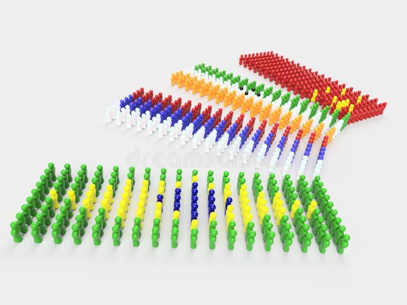 3D ilustraci flaga BRIC kraje zdjęcia stock