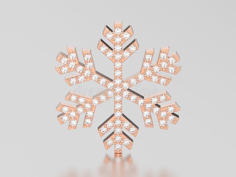 3D ilustraci płatka śniegu różana złocista diamentowa kolia royalty ilustracja