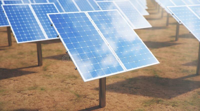 3D ilustraci panel s?oneczny alternatywna energia Poj?cie energia odnawialna Ekologiczny, czysta energia kasetonuje s?onecznego zdjęcia royalty free