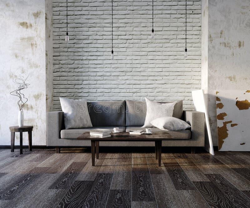 3d ilustraci pusty biały wnętrze z kanapą, opróżnia ścienne, minimalistyczne poduszki, żywe pokoju, czerni i szarość, lekka kanap ilustracja wektor