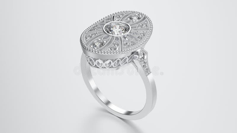 3D ilustraci srebra etniczny pierścionek z diamentami i ornamentem ilustracji