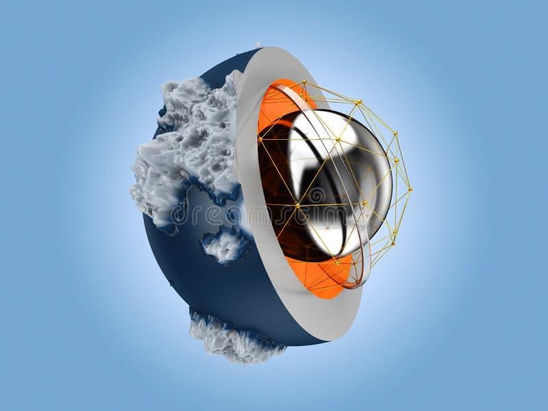 3d ilustracja Abstrakcjonistyczna kula ziemska, odosobniony błękitny tło obrazy royalty free