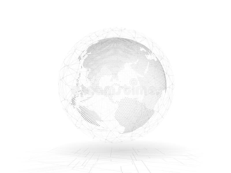 3D ilustracja Abstrakcjonistycznej innowacji komunikacyjny związek wykłada wokoło planety ziemi ilustracja wektor