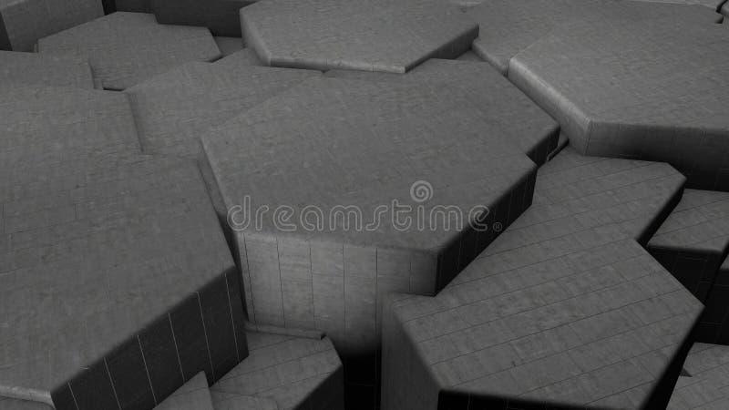 3D ilustracja abstrakcjonistyczny futurystyczny tło od wiele różnych sześciokątów honeycomb robić żelazo, srebro i złoto, z royalty ilustracja