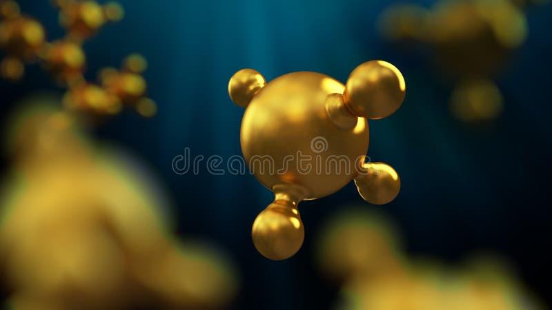 3D ilustracja abstrakcjonistyczny złocisty metal molekuły tło ilustracja wektor