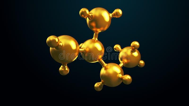 3D ilustracja abstrakcjonistyczny złocisty molekuły tło royalty ilustracja