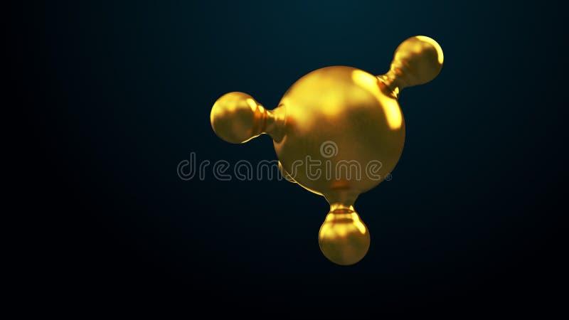 3D ilustracja abstrakcjonistyczny złocisty molekuły tło ilustracji
