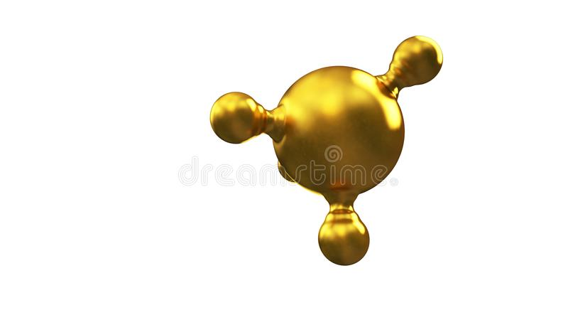 3D ilustracja abstrakcjonistyczny złocisty molekuły tło ilustracja wektor