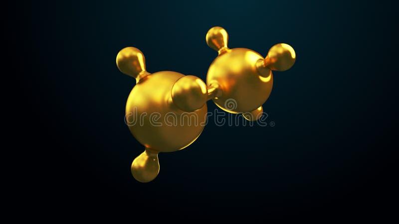 3D ilustracja abstrakcjonistyczny złocisty molekuły tło obrazy royalty free