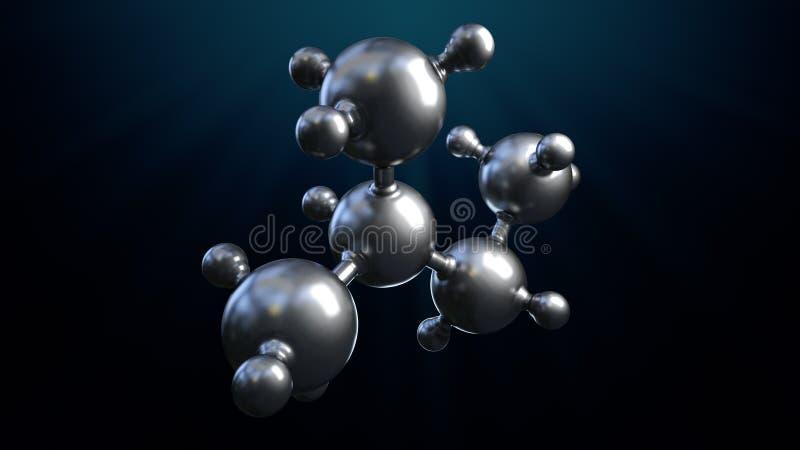3D ilustracja abstrakta srebra metalu molekuły tło ilustracji