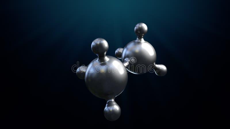 3D ilustracja abstrakta srebra metalu molekuły tło royalty ilustracja