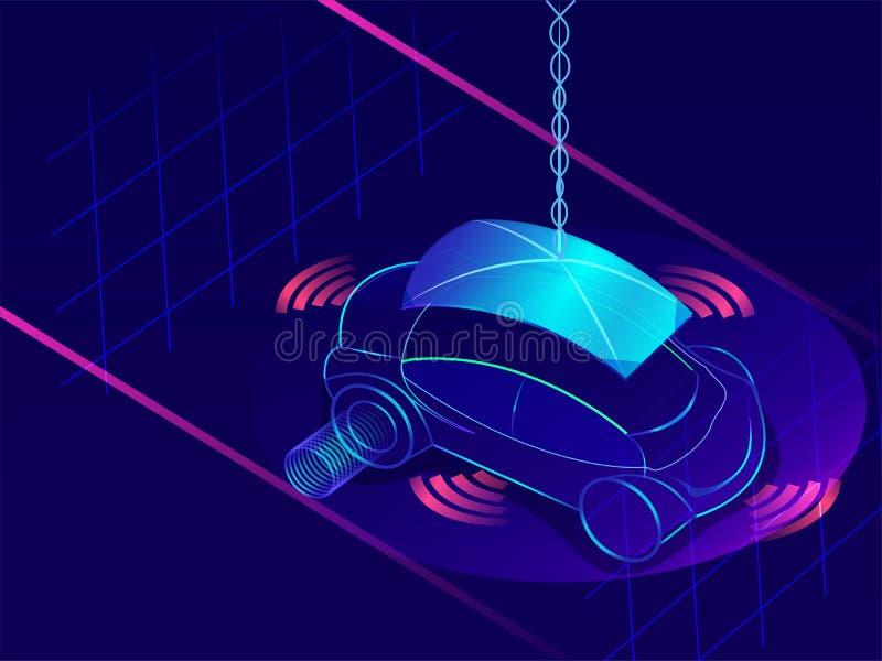 3D ilustracja autonomiczny pojazd na abstrakcjonistycznym błękitnym backgroun royalty ilustracja