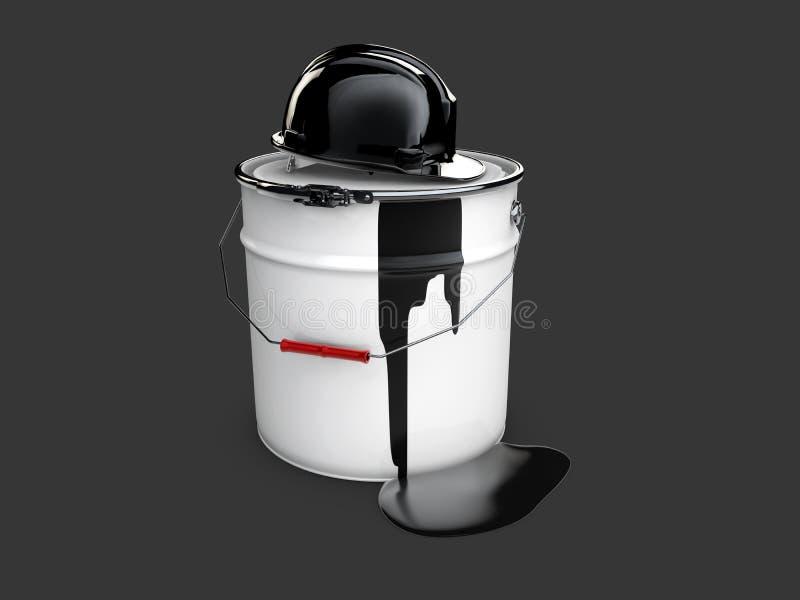 3d ilustracja baryłka olej z przysiółkiem, czarna ilustracja wektor