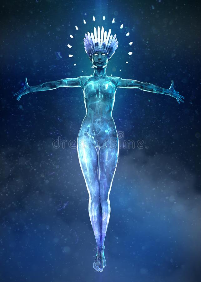 3d ilustracja beautyful lodowa kobieta z rozjarzoną krystaliczną koroną i małymi kryształami na ciele Unosi się w powietrzu royalty ilustracja