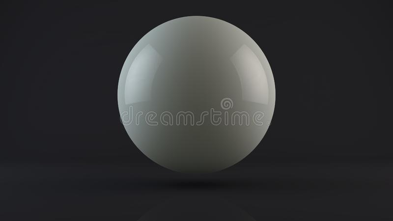 3D ilustracja biel, dojna piłka, opuszcza w ciemnym studiu Kropla biały metal lub mleko Abstrakcja, 3D rendering ilustracji