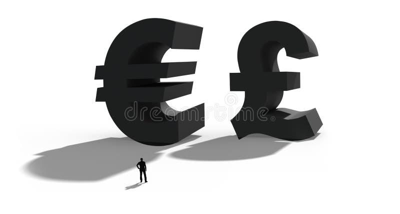 3D ilustracja brytyjski funt i euro Symbol dla brytyjskiego Brexit referendum royalty ilustracja
