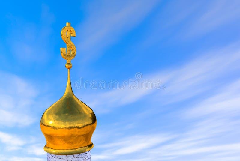 3d ilustracja: cebulkowa kopuła Ortodoksalny kościół z dolarowym symbolem zamiast krzyża - krucyfiks na kamiennej bazie z pęknięc ilustracji