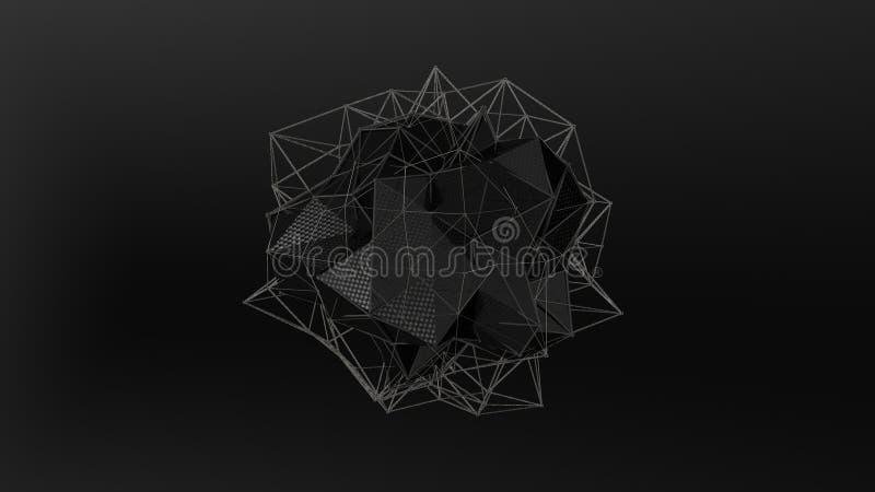 3D ilustracja czarny kryształ nieregularny kształt, niska poligonalna abstrakcjonistyczna postać na czarnym tle, Futurystyczny pr ilustracji