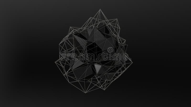 3D ilustracja czarny kryształ nieregularny kształt, niska poligonalna abstrakcjonistyczna postać na czarnym tle, Futurystyczny pr royalty ilustracja