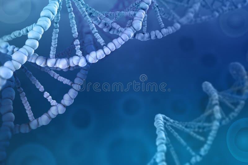 3D ilustracja DNA molekuła Dochodzenie komórkowa struktura ilustracja wektor