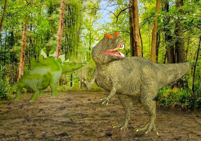 3D ilustracja Dwa dinosaura w bagnie royalty ilustracja