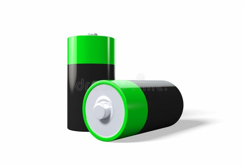 3D ilustracja - Dwa zielonej czarnej baterii na białym tle ilustracji