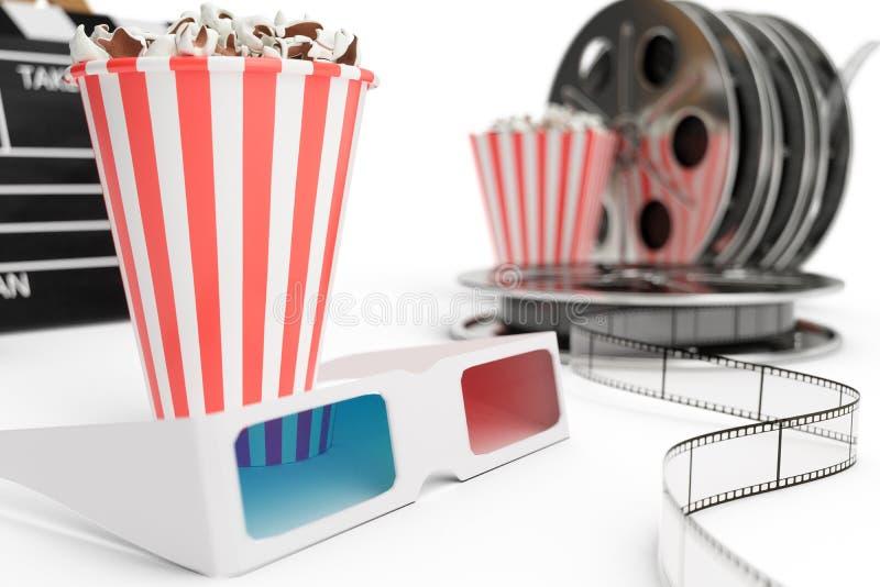 3D ilustracja, dyrektora krzesło, filmu clapper, popkorn, 3d szkła, ekranowy pasek, ekranowa rolka i filiżanka z carbonated napoj royalty ilustracja
