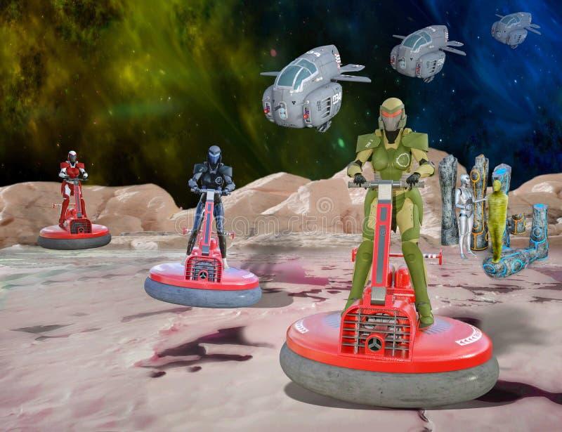 3D ilustracja eskadra futurystyczni żeńscy cyber trutnie na odległej planecie royalty ilustracja