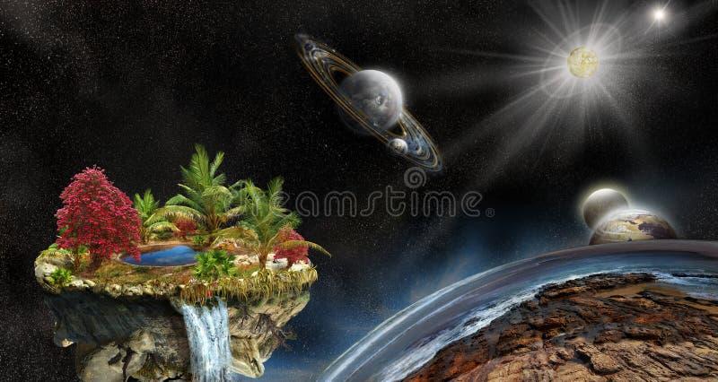 3d ilustracja fantazi wyspa w przestrzeni fotografia royalty free