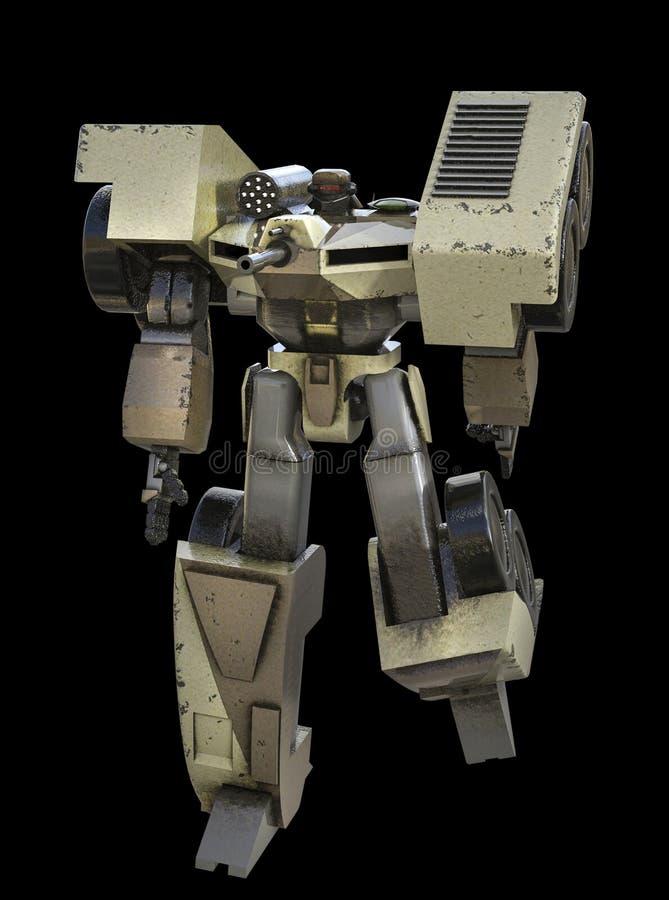 3D ilustracja Futurystyczny Militarny Chodzący trutnia robot ilustracja wektor