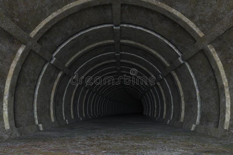3d ilustracja grungy betonowa tunelowa droga ilustracja wektor