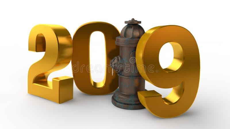 3D ilustracja 2019 hydrant zamiast jednostki pomysł świętowanie, rok ochrona, pożarniczy system świadczenia 3 d ilustracji