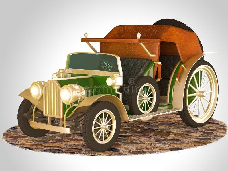 3D ilustracja i 3D rendering stary bajka samochód ilustracja wektor