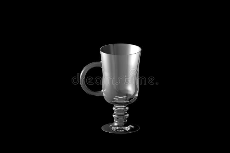 3D ilustracja irlandzkiej kawy koktajli/lów gorący szkło odizolowywający na czerni - pijący szkło odpłaca się ilustracja wektor
