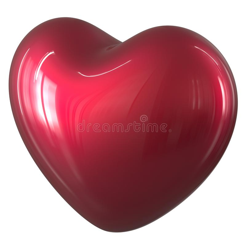 3d ilustracja kierowego kształt miłości symbolu czerwony glansowany medyczny royalty ilustracja