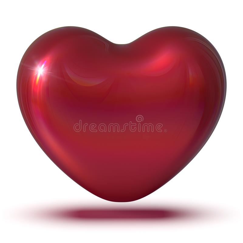 3d ilustracja kierowego kształt miłości symbolu czerwony klasyczny jaśnienie ilustracja wektor