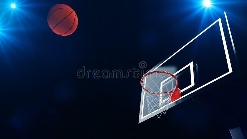 3D ilustracja koszykówka obręcz w fachowej koszykówki arenie ilustracja wektor
