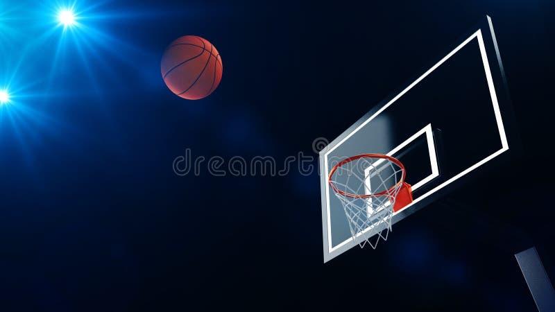 3D ilustracja koszykówka obręcz w fachowej koszykówki arenie royalty ilustracja