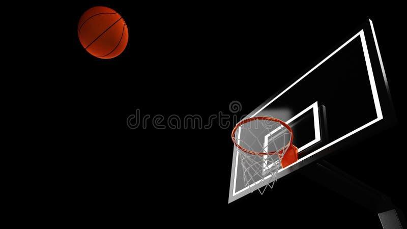 3D ilustracja koszykówka obręcz w fachowej koszykówki arenie ilustracji