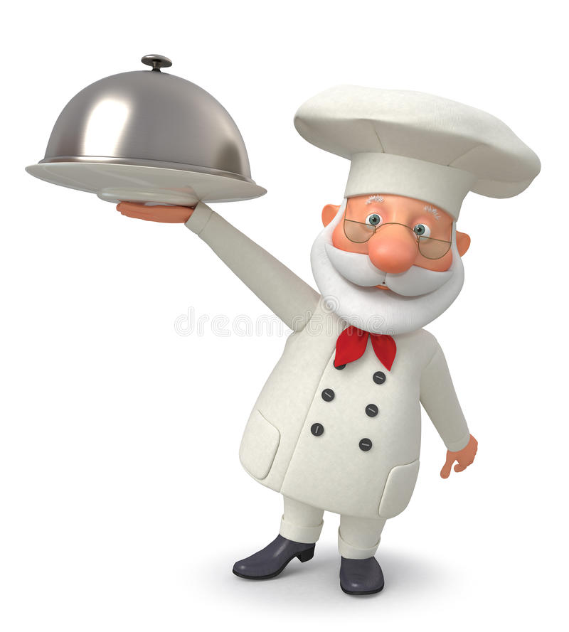 3d ilustracja kucharz z naczyniem royalty ilustracja